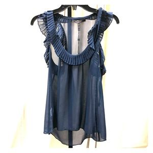 NWT BCBG MAX AZRIA Silk Pleated Sheer Top